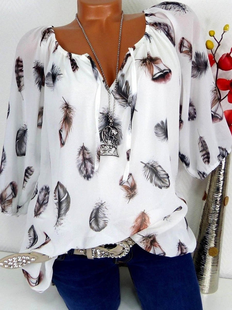 Feathers Printed V-neck Loose Fit T-shirt Top