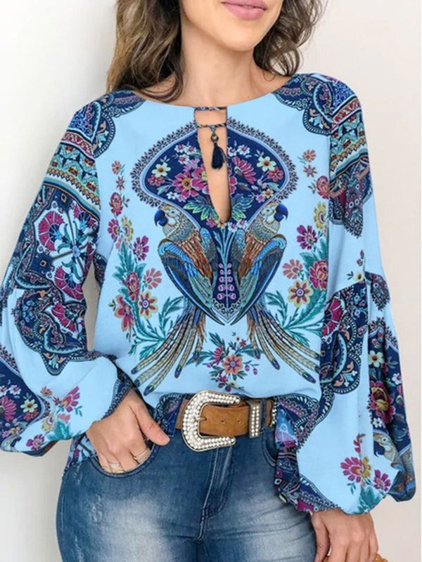 Floral Long Sleeve Round Neck T-shirt Top