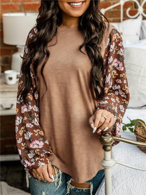 Floral Pattern Stitching Lantern Sleeve Top