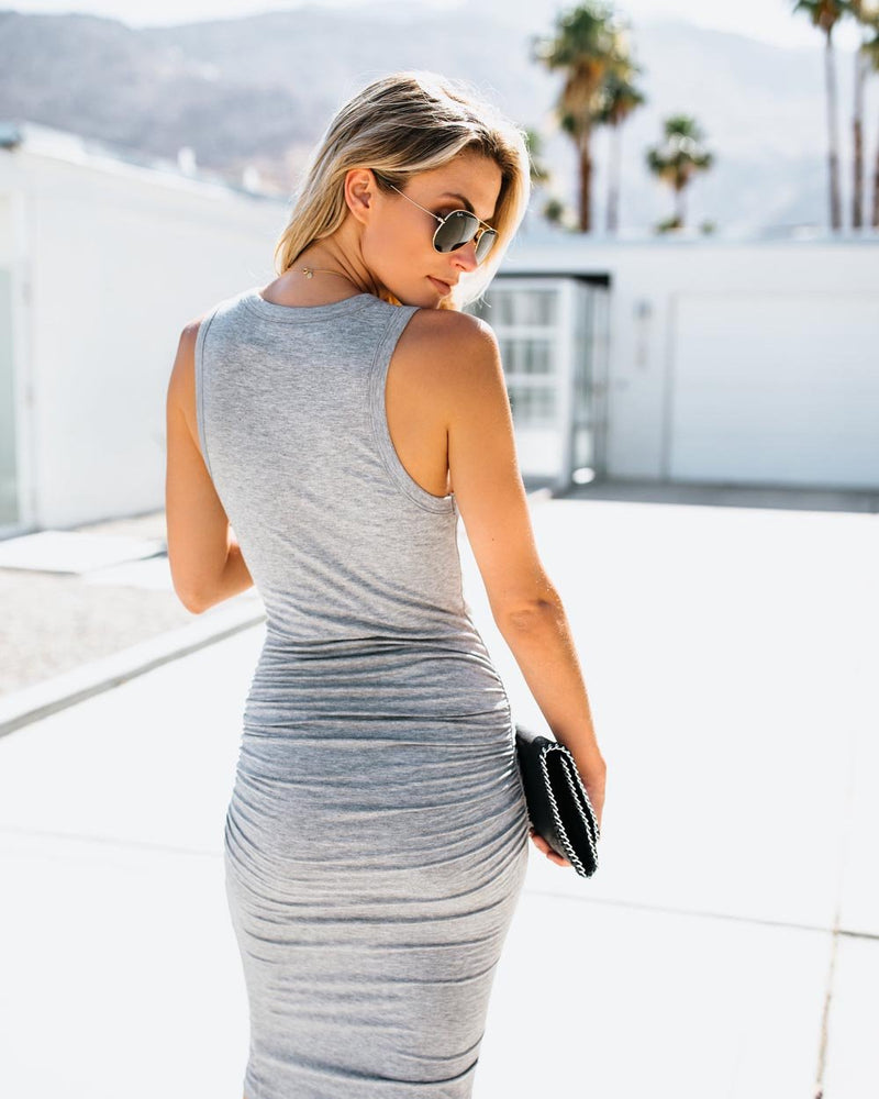 Grey Bodycon Deep V-neck Midi Dress - Landing Closet