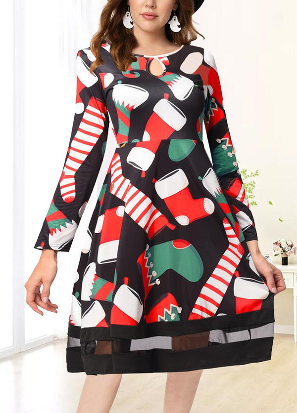 Christmas Round Neck Retro Printed Dresses