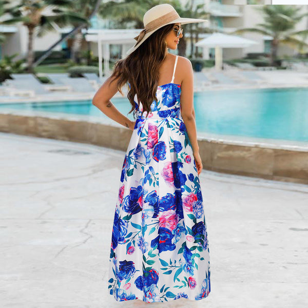 Spaghetti Strap Floral Sleeveless Long Blue Maxi Dress