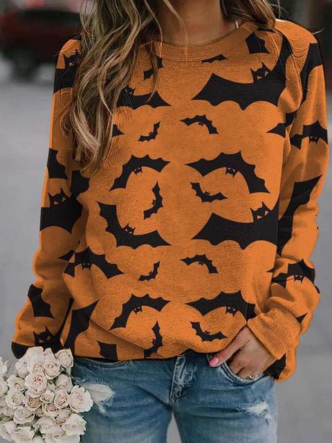 Halloween Bat Pattern Pullover Sweatshirt