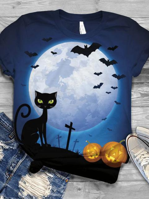 Halloween Moon Cat Pumpkin Print T-shirt