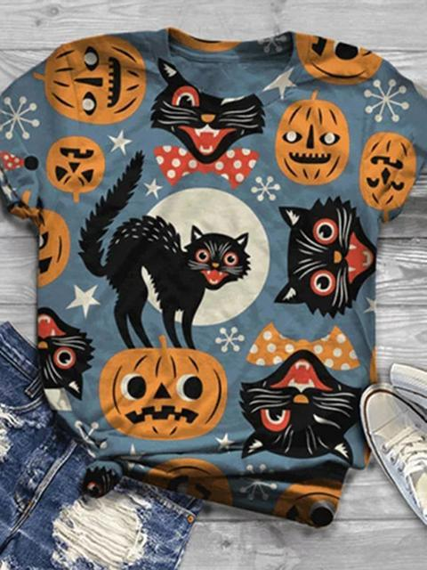 Halloween Animal Cat Print T-shirt