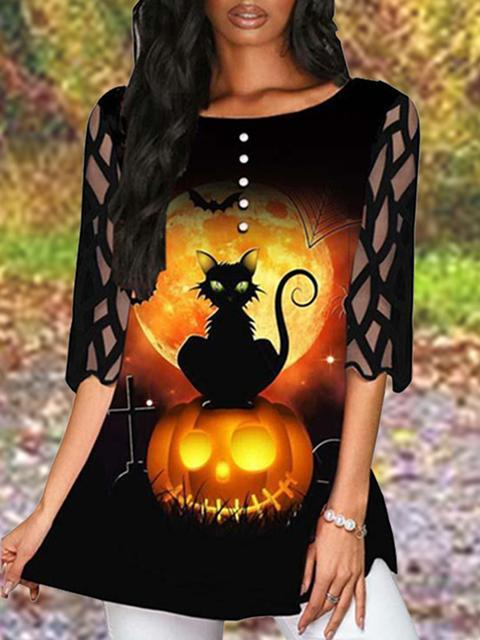 Halloween Pumpkin Print Mesh Top