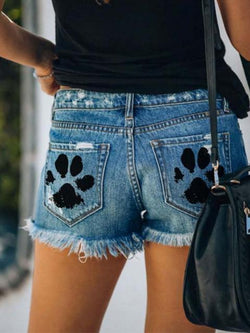 Paw Printed Hole Tassel Denim Shorts