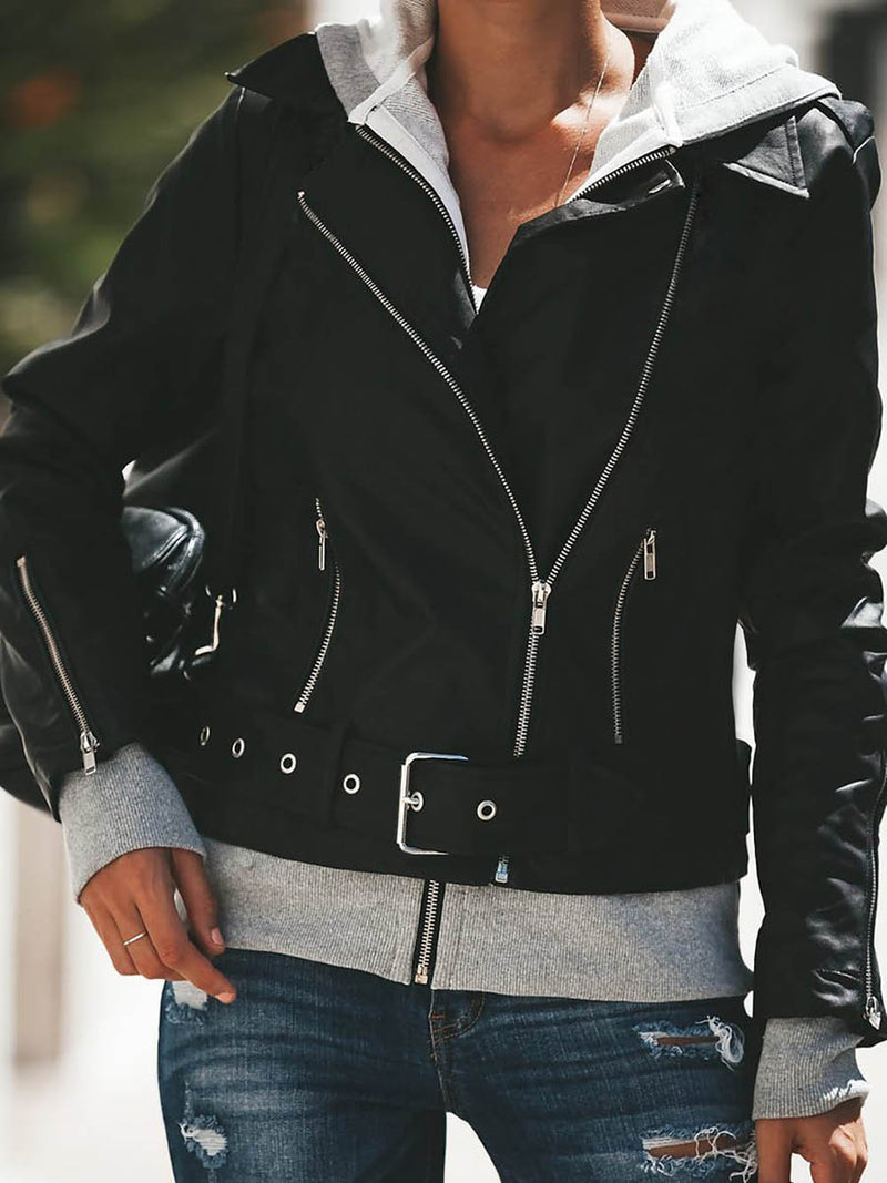 Hooded Faux Leather Bomber Jacket Coat