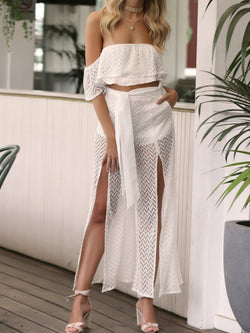 White Off Shoulder Backless Sleeveless Jumpsuit