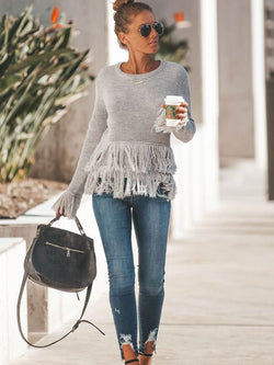Loose Fringe Tassel Knit Sweater