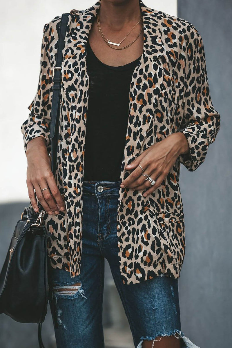 Relaxed Pocketed Cheetah Blazer Jacket