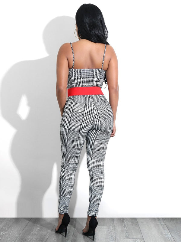 Plaid Strap Backless Jumpsuit