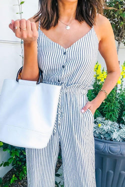 Striped Printed One-piece Jumpsuit