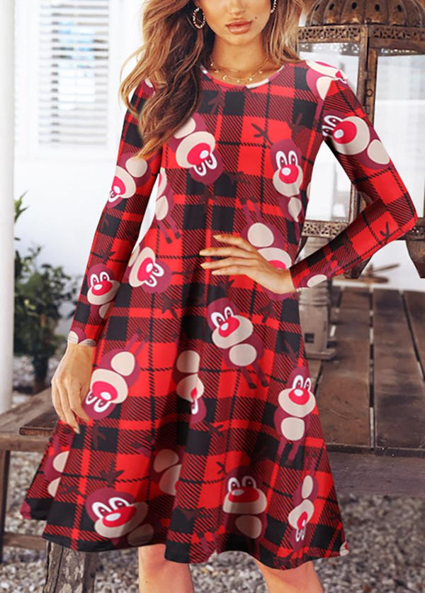 Christmas Round Neck Long Sleeve Dresses