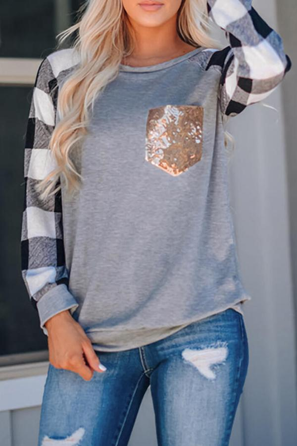 Check print sequin pocket Blouse