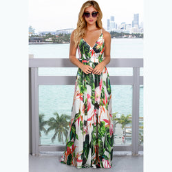 Deep V Neck Floral Adjustable Spaghetti Strap Sleeveless Dress