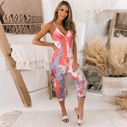 Deep V Neck Spaghetti Strap Colorful Jumpsuit