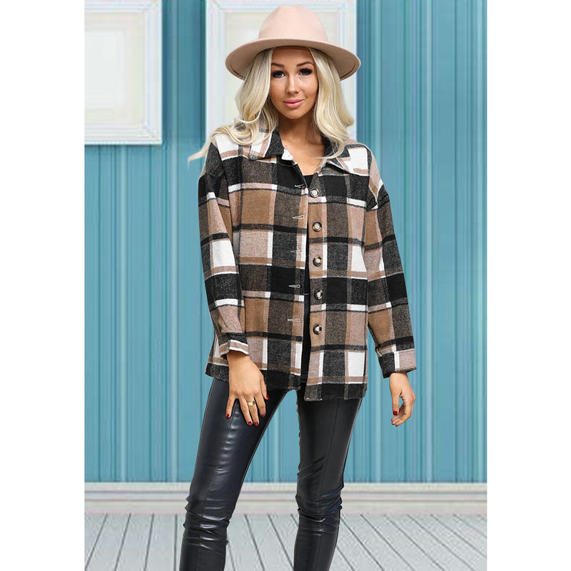 Long Sleeve Button Plaid Jacket