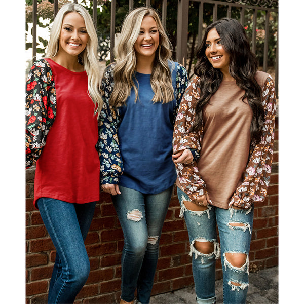 Floral Long Sleeve Round Neck Tops