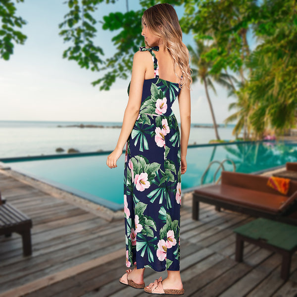 Adjustable Spaghetti Strap Floral V Neck Maxi Dress