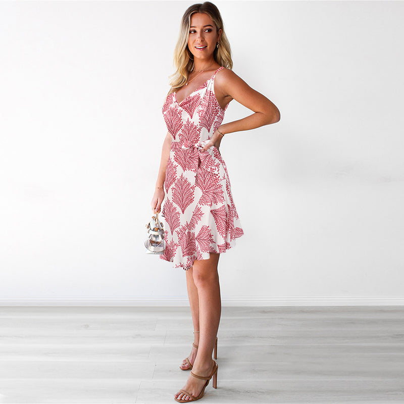 Spaghetti Strap Tie Waist Floral Mini Dress