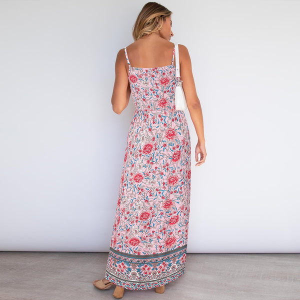 Sleeveless Floral Backless Adjustable Sphagetti Strap Maxi Dress