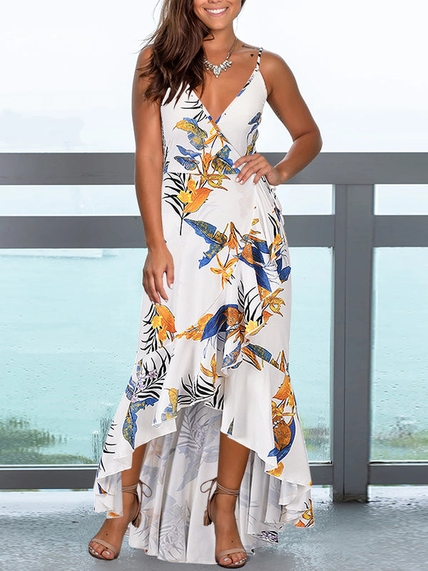 Spaghetti Strap V Neck High Low Floral Maxi Dress
