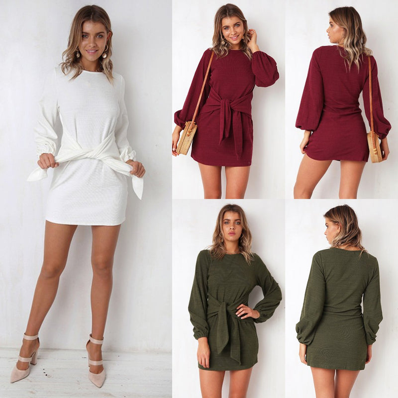 Casual Bodycon Long Sleeve Mini  Dress - Landing Closet