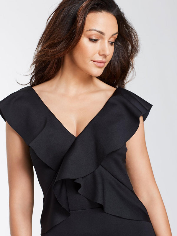 Black Sleeveless Sexy Office V-Neck Ruffle Hem Dress - Landing Closet