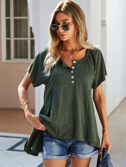 Short Sleeve Button Up Loose Blouse Top
