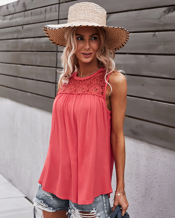 Sleeveless Round Lace Neck Casual Tank Top