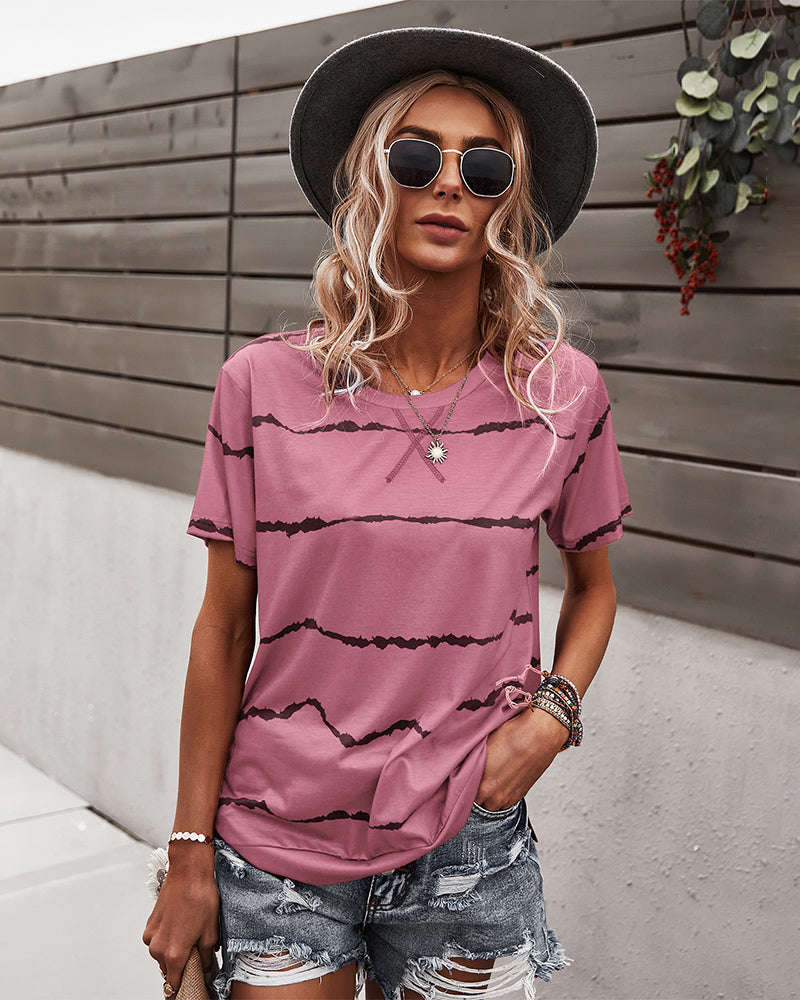 Round Neck Short Sleeve Casual T-Shirt