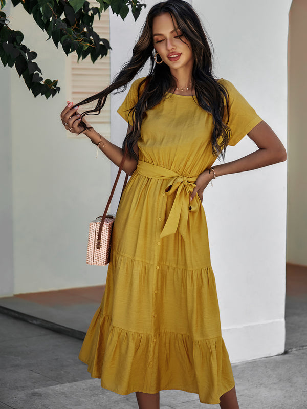 Short Sleeve Round Neck Wrap Tie Waist Maxi Dress