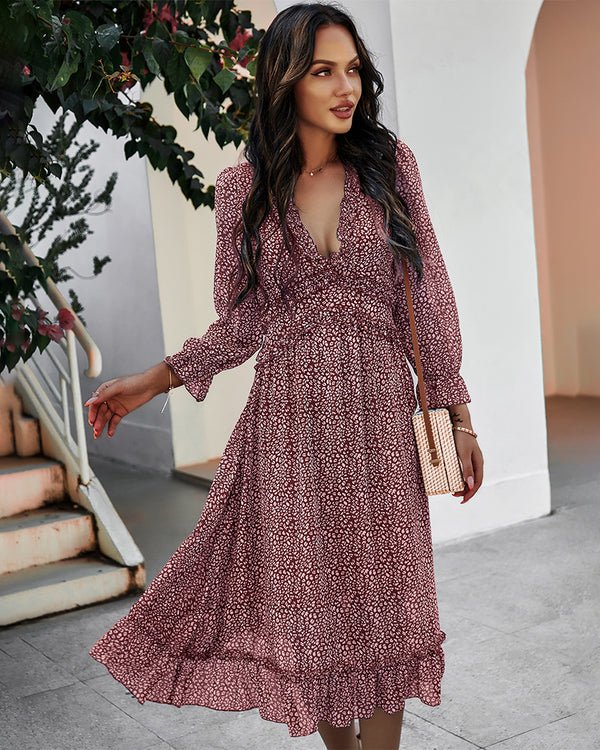 Deep V Neck Floral Long Sleeve Ruffle Hem Maxi Dress