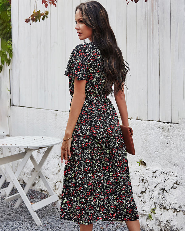 Floral Print V Neck Short Sleeve Ruffle Buttons Dress