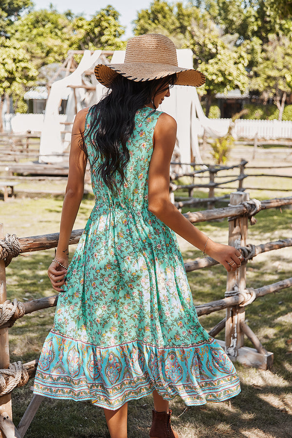 Sleeveless V Neck Flower Print Long Maxi Dress