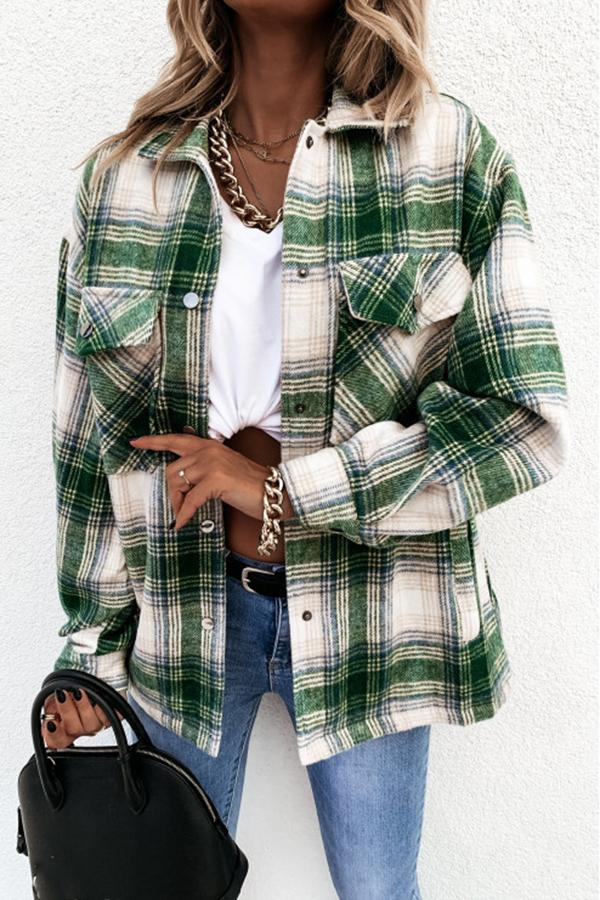 Long Sleeve Plaid Shirt Collar Jacket