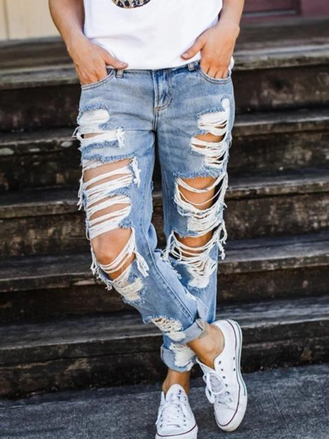Denim Hole Loose Jeans