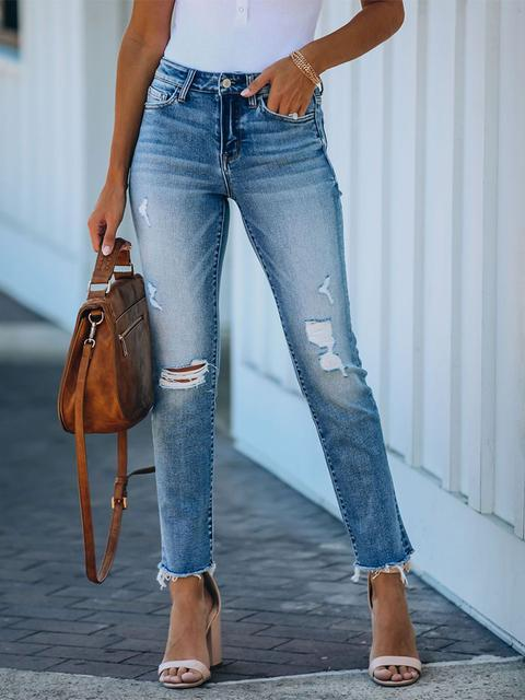 Bibbed Slim-fit Stretchy Casual Jeans