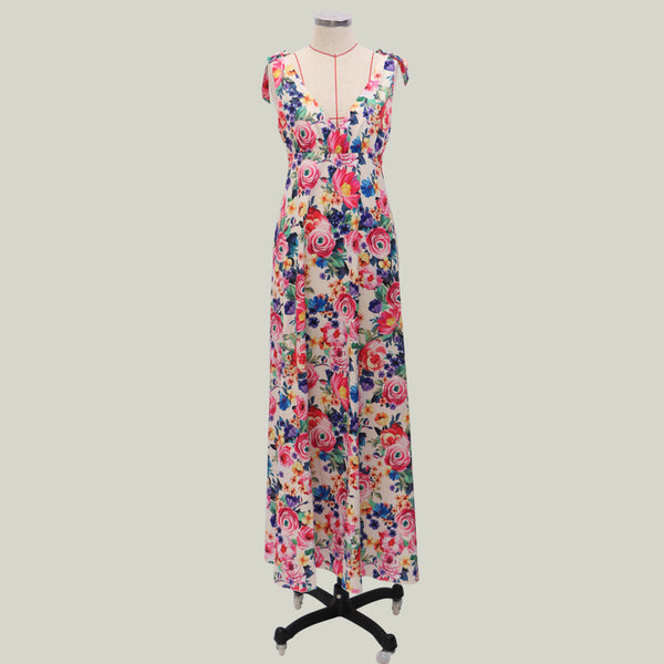 Adjustable Straps Backless Floral Deep V Neck Long Maxi Dress
