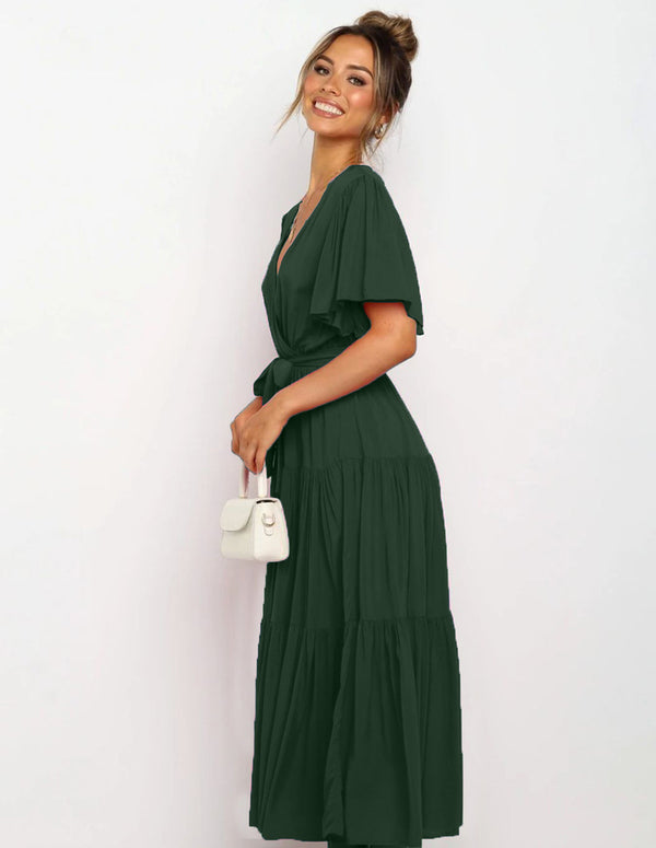 V Neck Tie Waist Short Sleeve Maxi Dress