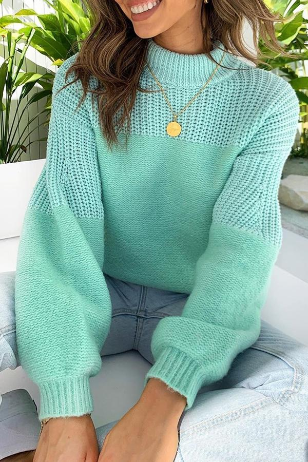 Casual Stitching Crew Neck Sweater