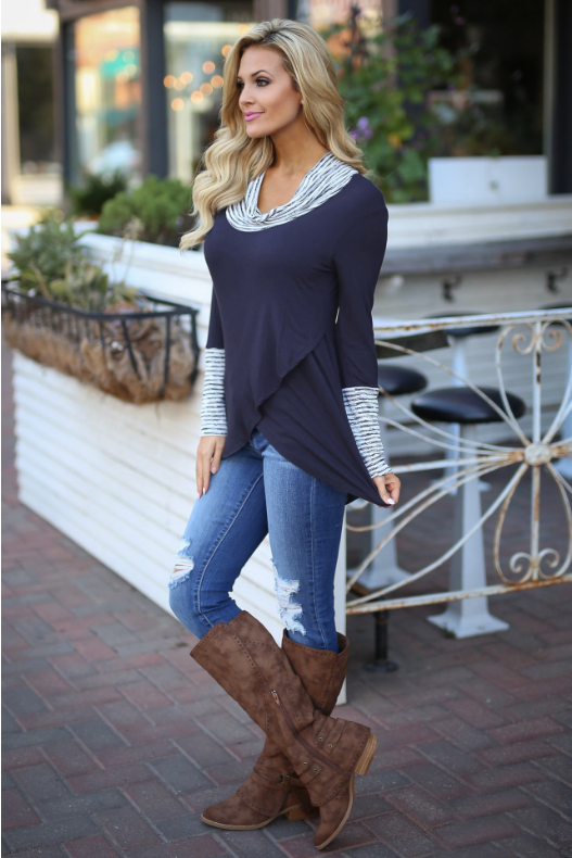 Navy Long Sleeve Stripe Casual Irregular Hem T-shirt - Landing Closet