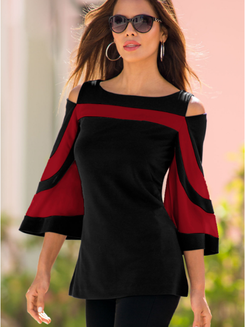 Red Cold Shoulder Top Bat Sleeve T-shirt - Landing Closet