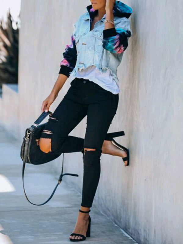 TIE DYE KNIT HOODED DENIM JACKET