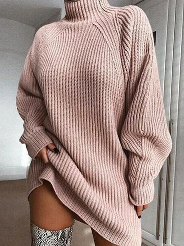 Casual Knitted Long Sleeve Mini Dress