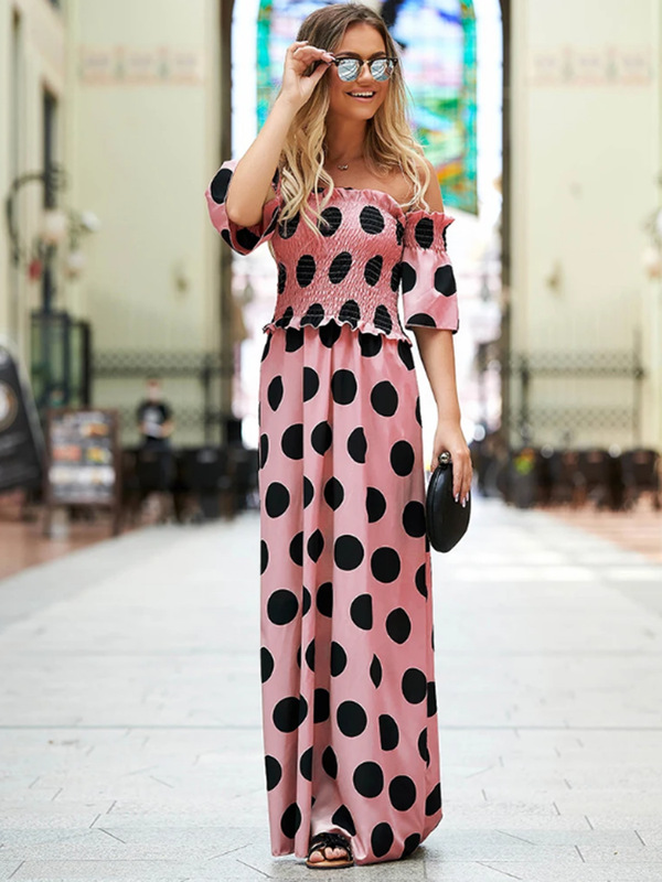 Short Sleeve Off Shoulder Dot Printed Long Maxi Dress