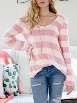 Casual V Neck Sweater Long Sleeve Lightweight Sweater Top