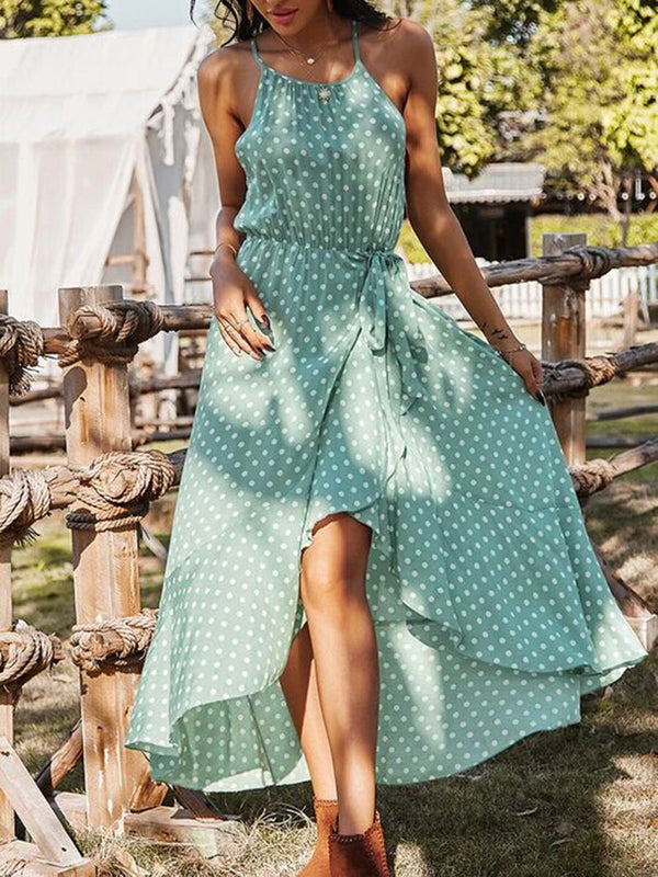 Polka Dot Spaghetti Strap Long Dress