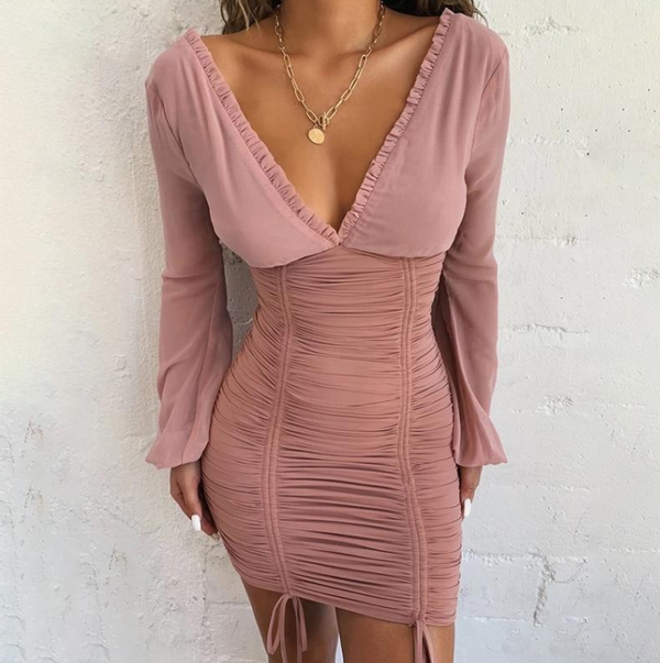 Sexy Long Sleeve Slim Elastic Bodycon Bandage Dress